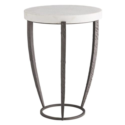 Side Table works in almost any style space. The juxtaposition of the honed white marble top and the unique contour ofthe three-prong natural iron base plays on the symmetry of the shape's geometric characteristics. Upgrade the status of a room with this sleek structure.