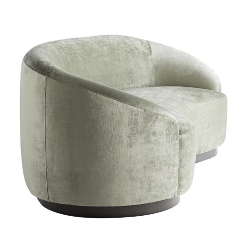 The blend of elegant upholstery and soft hue are all glamour, appealing to style makers who appreciate bold design. The entire silhouette is one long, sexy curve. Float two facing each other with a round cocktail table in the middle or use our elegant drinks tables to create an intimate lounge-like vibe.