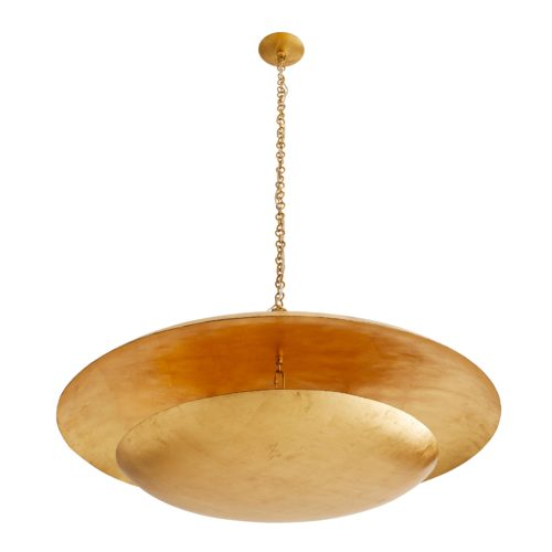 This multi-light design features gold-leafed iron curved discs that float effortlessly under the space-like dome. The lower level holds lights, creating a soft glow.