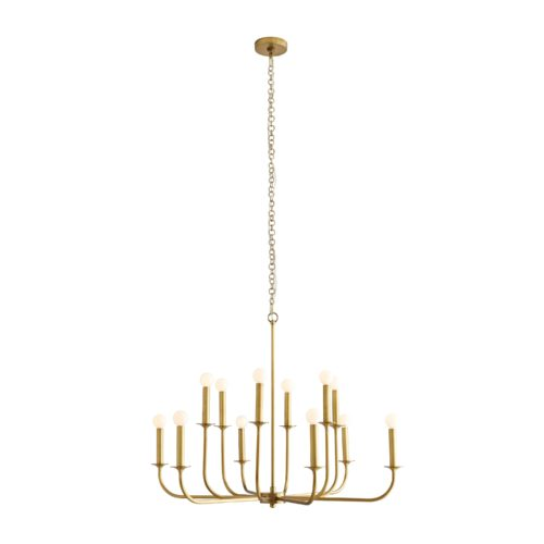 This grand chandelier features steel arms that curve upwards, reaching from a center point at two different heights to create a double tier effect. The entire structure is finished in an antique brass tone and is constructed with a seamless design.