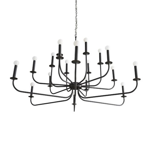 This chandelier features steel arms that curve upwards, reaching from a center point at two different heights to create a double tier effect. The entire structure is finished in bronze and is constructed with a seamless design.It holds twelve exposed bulbs for maximum light.