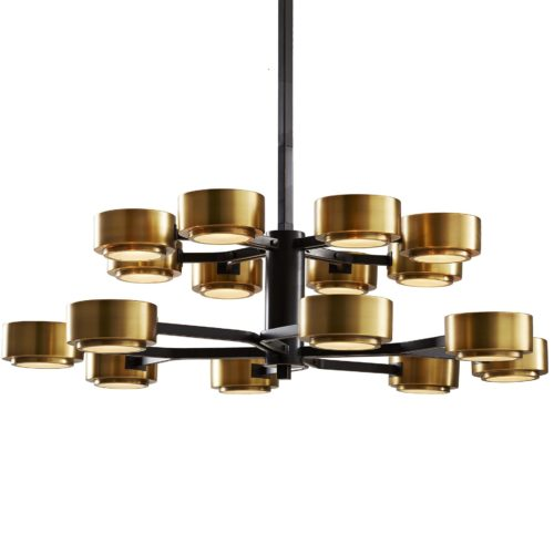 Bronze and brass combine to create this large-scale, modern 16-light chandelier, Eight horizontal rods, four on each tier, split into two to give way to contrasting antique brass shades and frosted glass diffusers. Perfect over a large dining table or as the focal point above an island in a grand kitchen.
