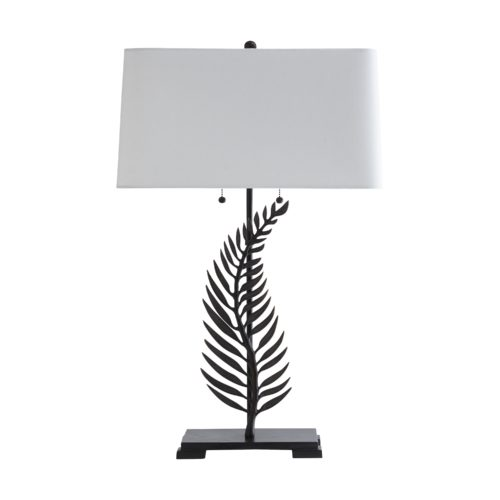 The juxtaposition of the organic with the rectilinear breathes life into this captivating lamp inspired by nature. The Fern Lamp features a bronzed metal fern and steel mount topped by a crisp white linen shade.