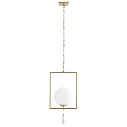 Orb and Tassel pendant emulates a sleek steel trapeze finding equilibrium with its glowing glass orb. A fine-threaded tassel hangs from the center of the antique brass fixture. She betrays the family secret of balance and elegant form. Finished in antique brass.