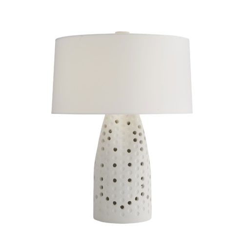 Taking a cue from industrial metalwork, the lightweight concrete foundation of this lamp showcases a perforated façade—a motif typically found in metallurgical design. The cinched top adds a dimensional quality to its open-base construction,and perfect punctures catch the light to create a unique shadowplay in its space.