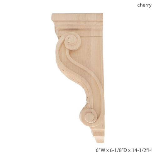This wood corbel features deep relief carving with ornate detail that cannot be achieved by any machine.