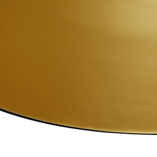 Equal parts classic and dramatic, this over-scaled light fixture delivers form & function in grand scale. The streamlined dome design features an outer matte black surface while the interior of features a brilliant gold metallic semi-matte finish.