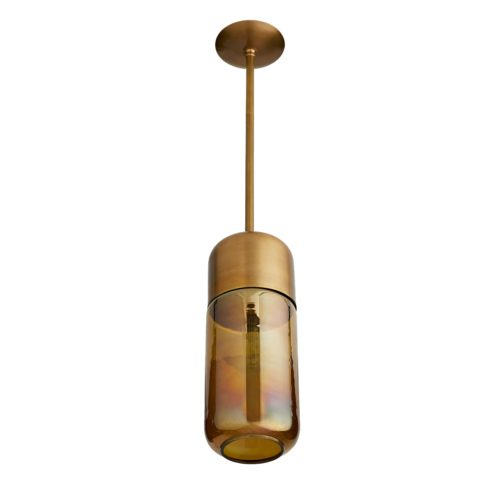 A burnt smoke luster glass shade is suspended by a sleek brass pipe and is capped with a vintage brass band that accentuates the warm tones thispiece emits. The clean lines that shape the straightforward silhouette offer a streamlined approach to lighting design.