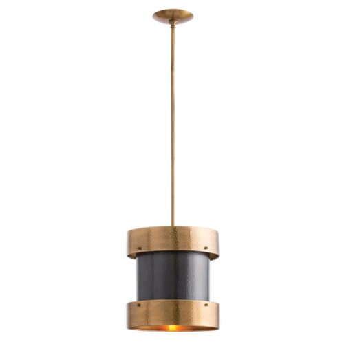 This one-light, bronze-finished pendant features a mid-century inspired, hammered iron finish. With its antique brass floating bands adding contrast and dimension to the simple, elegant design, it's the perfect light for your kitchen island.