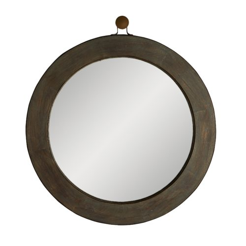 this mirror is reminiscent of a ship's porthole—a round circular window—and works to deliver a nautical element to a room.The gray wash finish delivers a weathered look to the handcrafted wood and rusted iron frame that surrounds a plain round mirror. Accented with a decorative ring for an even more seagoing appeal.