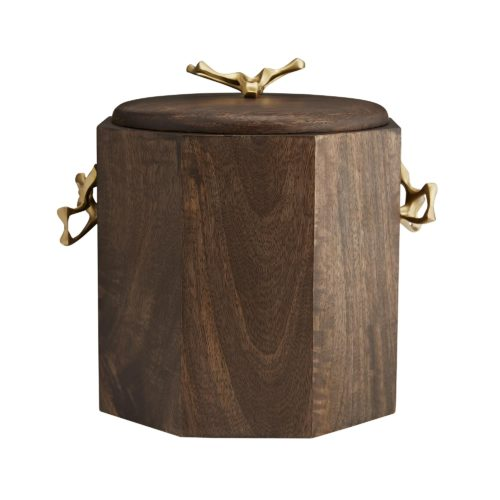 Featuring a multi-faceted façade, this container is constructed of wood with a richwalnut finish, and it is accented with sculptural yet functional antique brass handles. A stainless steel insert makes it easy to clean and provides extra insulation.