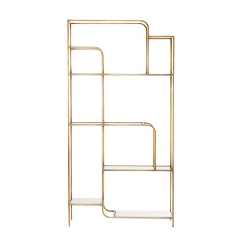 The multi-tiered unit features white marble and clear glass shelves that contemporizes the antique brass finish of its stately iron frame.The open construction creates an airy effect and works to showcase your prized possessions in full form.