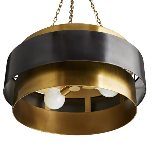 This iron, mid-century-inspired, one-light vintage brass-finished pendant is the perfect light to hang over your dining table.The dark bronze floating band adds contrast and dimensionality to the simple elegant design.