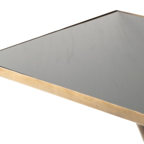 This dreamy console takes us back with its art deco vibe. The antique brass frame and black glass top are timeless together. Mount in an entryway for a glamorous statement. Features hidden groove hole hangers for mounting.