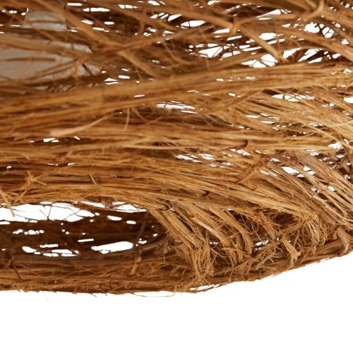 Overtly organic, this large-scale pendant brings a rustic yet refined element to a space. Rattan peel is hammered by hand until the natural fibers are revealed and then bound to the iron form to create the bird's nest-like structure. A single bulbworks to illuminate this piece—its light eagerly peeks through the rattan to warm its surroundings.