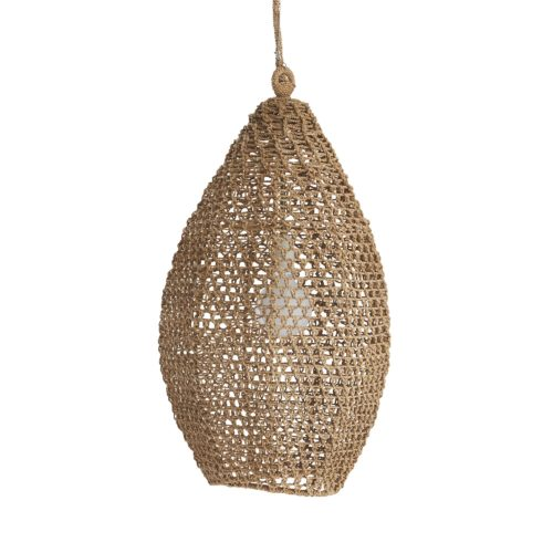 """Hand woven sea grass in its natural coloration forms a graceful teardrop shade. A single bulb floats inside its own hive. Shown with a 4"""" frosted globe bulb."""