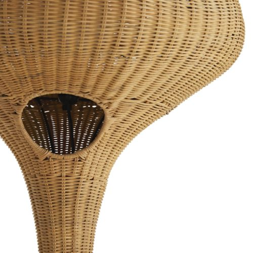 Exotic, sultry and inspired by Middle Eastern lanterns, this floor lamp delivers international flair. The voluptuous silhouette is made using metal rods that are powder-coated for durability. The highest quality rattan is hand-woven around the entire piece, and then stained, sanded and coated for even more resilience. A utility notch is carved out to replace the bulb, but it is finished and could also be showcased as a visual detail. The tulip base is fitted with a black chord.