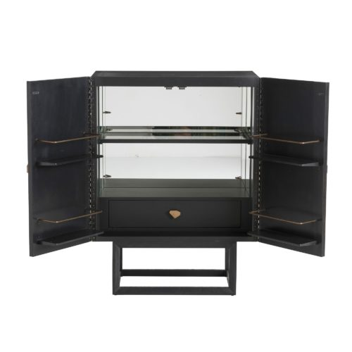 The etched gold doors of this bar cabinet add a little bit of chic to any room. Open the doors to reveal an ebony stained interior, mirrored walls, recessed light, and a spot for your best liquor. Suddenly you're everyone's best friend!
